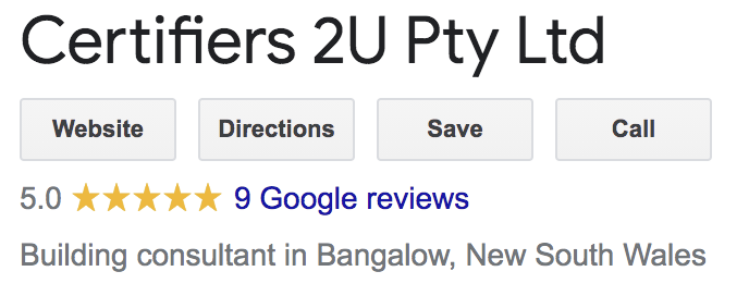 Certifiers 2U Pty Ltd image from Google indicating a 5 star rating from 9 reviews.